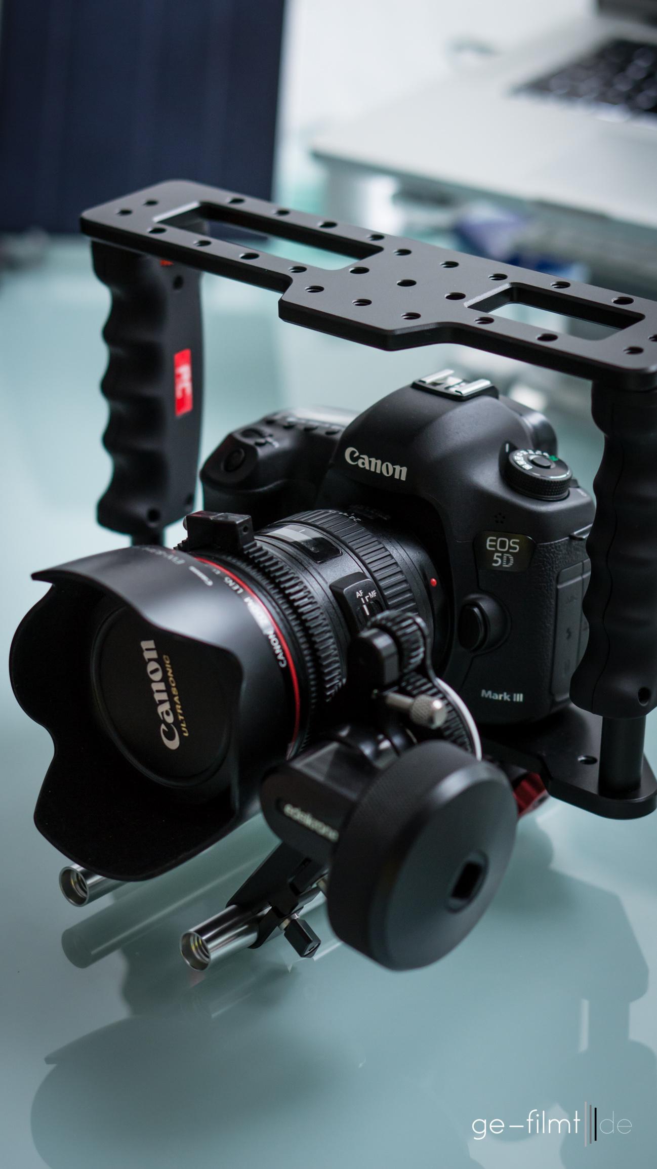 Kamera und Follow Focus sind montiert